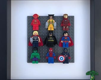 Superheroes Framed Wall Art Lego Minifigures (Flash, Wolverine, Ironman, Thor, Batman, Superman, Spiderman, Hulk, Captain America)