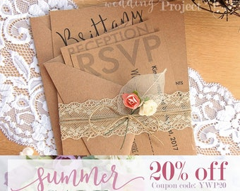 SALE 20% OFF - Lace Wedding Invitation Set w Leaf and Roses   Rustic Invitation, Recycled Invitation, Custom Invitation, Karft Invitation