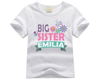 Personalized big sister shirt. Big sister flowers theme. Colorful flowers big sister shirt. Big sister announcement. Flowers big sister tee.