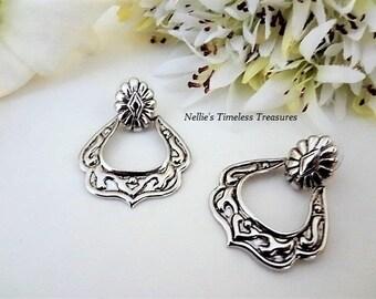 Silver Door Knocker Earrings,Silver Hoop Earring,Large Hoops,Stud Post,Vintage Avon Earrings,Avon Jewelry,HypoAllergenic Post,Dangle Earring