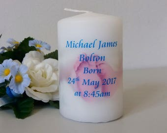 Personalised New Baby Candle with Baby Feet design