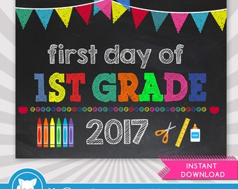 First Day of 1st Grade Sign- 1st Day of School Printable - First Day of School Sign - Photo Props - Chalkboard Sign - Instant Download
