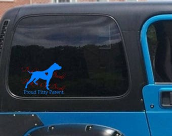 Proud Pitty Parent and Pitbull silhouette with heart .... E00163