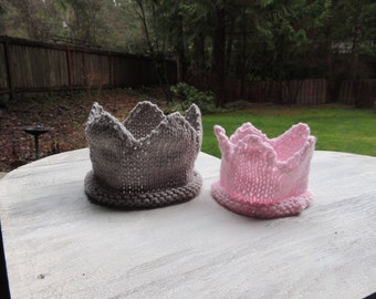 Knit Crown, Luv Beanies, Knit baby Crown, Child Crown, Birthday Crown, Boy Crown, Girl Crown, Pink Crown, Gray Crown, Children's Crowns