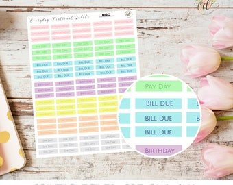 Everyday Planner Stickers | Two Dollar Tuesday |  Planner Accessories | Sticker Sheets | Funtional Stickers | Task Labels | Planner Icons