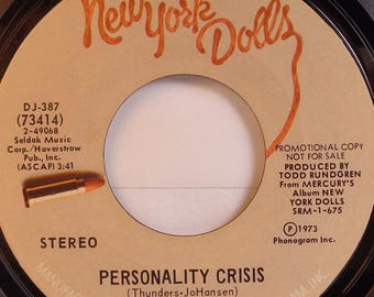 "7 Inch Vinyl 45 RPM Promotional Record of The New York Dolls ""Personality Crisis"" 1973"