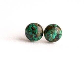 FREE SHIPPING // Green Chrysocolla Earrings // Chrysocolla Earrings // Chrysocolla Studs // Chrysocolla Jewelry // Raw Chrysocolla // Green