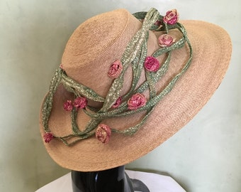 Bergdorf Goodman Straw Summer Hat with Rose Vine