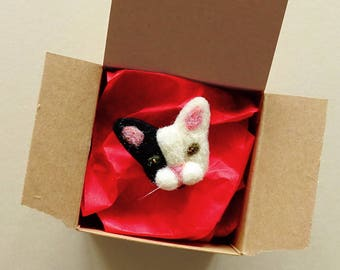 Kitty Cat Jewelry For Women | Kitty Cat Brooch | Cat Mom Gift | Cute Cat Face Pin Badge | Needle Felted Cat Lady Brooch | Cat Owner Jewelry