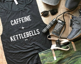 Caffeine and Kettlebells Workout Tank, Womens Workout Tank, Fitness Tank, Gym Tank, Muscle Tank, Fitness Christmas Gift, Coffee, Weights