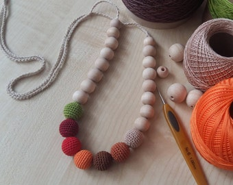 Teething necklace Nursing necklace Baby nursing necklace Necklace for mom Crochet teething necklace Breadtfeeding Natural toy Baby toy