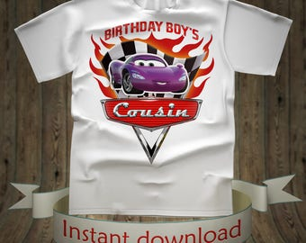 Disney Cars Birthday boy Cousin shirt Lightning McQueen Tee Tees T-Shirt Cars Printables tshirt iron on transfer birthday party for girl