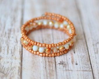 Peach Memory wire bracelet - Birthday Gift for her under 20 - Womens gift - Wrap bracelet - Coral Beaded bracelet - Crystal boho bracelet