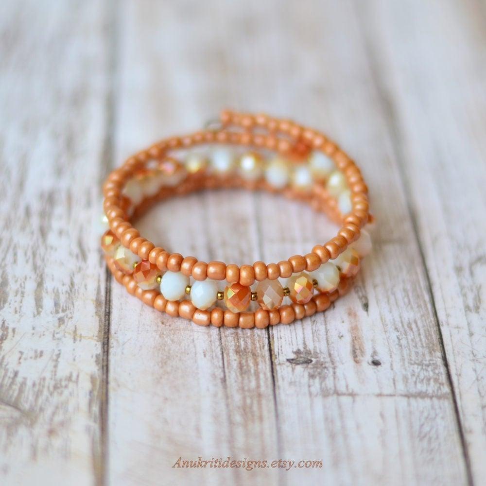 Peach Memory Wire Bracelet Birthday Gift For Her Under 20