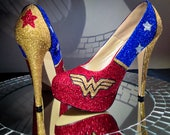 Wonder Woman Inspired High Heel Glitter Shoes for Women