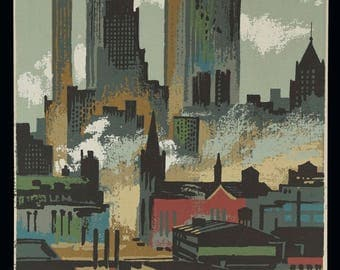 Mark Coomer Serigraph New York Skyline Skyscrapers Print Vintage Art Silkscreen Screenprint Silkscreen