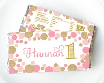 Pink Gold First Birthday, Chocolate Wrapper, Candy Wrapper, Personalised, Digital, Printable, aldi, hershey, personalized