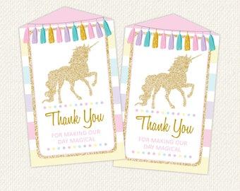Unicorn Favor Tag, Unicorn Party Supplies, Unicorn Party Printables, Unicorn Thank you tag, unicorn favour tags, unicorn, download favor tag