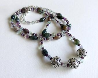 Jasper Necklace, Fluorite Necklace, Antique Silver Necklace, Statement Necklace, Long Necklace, Glass Bead Necklace, Boho Necklace