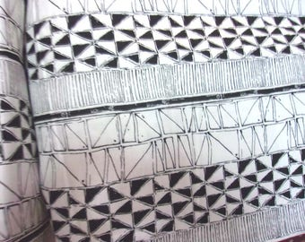 patchwork coton fabric with black and white geometry