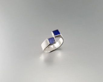 Ring with Lapis Lazuli and Sterling silver with modern design - gift idea - square design - geometrical ring - AAA Grade afghan Lapis