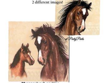 horse napkins, horse birthday party decorations, derby bridal shower, horseback riding, jockey, ponies, horses, girls, cowboy, cowgirl
