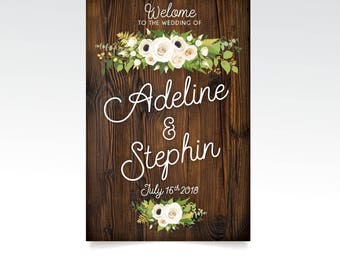 DARK WALNUT Wood Wedding Welcome Sign . White Poppy Fern Dahlia Rose Gold Greenery Garland Calligraphy PRINTED Paper • Foam Board • Canvas