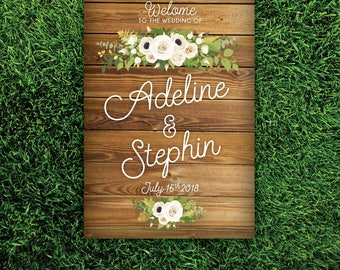 Oak Wood Plank Sign Wedding Welcome . White Poppy Fern Dahlia Rose Gold Greenery Garland Calligraphy PRINTED on Paper • Foam Board • Canvas