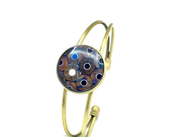 Colored Pencil Bracelet, Wire Bracelet, Bronze Bracelet, Bridesmaid Gift, Handmade, Wood Jewelry, Colored Pencil Jewelry, Charm Bracelet