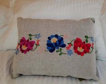 Hungarian Embroidered Decorative Throw Pillow