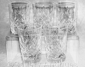 Five Vintage Crystal Cut Glass Flat Slim Whisky Tumblers Fan, Criss Cross and Thumbprint Design c.1980's (ref: H150)