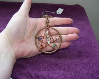 Copper Pentacle and Gemstone Ritual Necklace