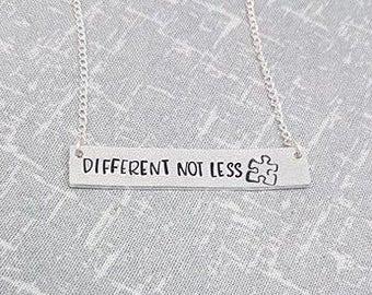 Different Not Less Necklace - Puzzle Piece Necklace - Autism Awareness - Autism Necklace