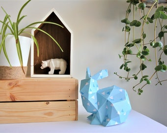 """Rabbit crouched blue Origami, patterns """"triangle"""" dark blue and white"""