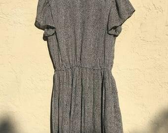 b&w collared babydoll mini dress (s)
