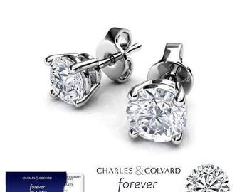 1.60 Carat Moissanite Forever One Stud Earrings in 14K Gold (with Charles & Colvard warranty)