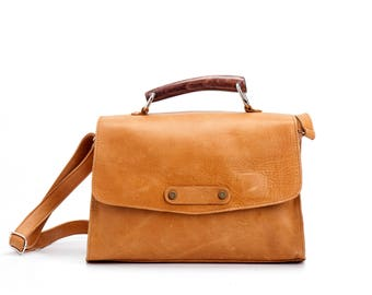 Crossbody Leather Purse / Womens Bag / Mustard Clutch / Shoulder Bag / Top Handle Cosmetic Bag / Camel Handbag / Every Day Tote Bag - Justin