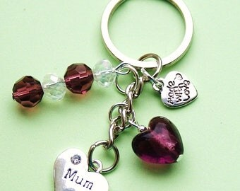 Mum Keyring with Purple Crystal & Heart Birthday Thank You Bag Charm Gift LB14