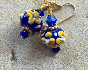 Blue Lampwork Earrings Yellow Flower Earrings, Lampwork Earrings, Beadwork Earrings, Glass Bead Jewelry, Flower Earrings