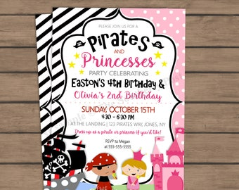 Pirates and Princesses Birthday Party Invitation - joint birthday - boy girl birthday - siblings - twin birthday - fairy tale