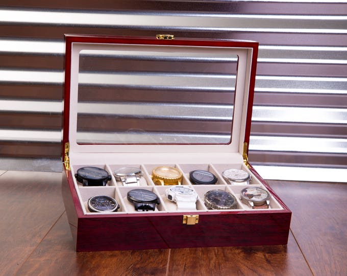 Wood Watch Case, Engraved Personalized Watch Box, Mens Christmas Gift, Valet Box, Watch Storage, Wedding, Glossy