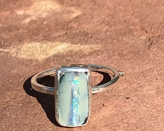 SUPER luminescent OPAL RING, Handmade using recycled sterling silver and Argentium