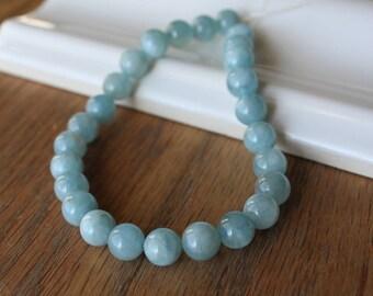 Aquamarine Beads. Round Smooth 8mm. 26 Beads 8 Inch Strand. Natural Semi precious Aquamarine Gemstone Beads. Aquamarine Jewelry. #701