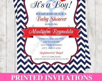Custom Printed Chevron Nautical Baby Shower Invitation - Printed Nautical Baby Shower Invitation by Dancing Frog Invitations