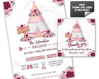 It's A Girl-Baby Shower-Teepee Custom Printable Invitation with FREE Thank you Matching Tag-DIY Digital File-Custom Baby Shower Invitation