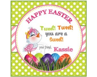 "Custom Happy Easter Printable 2.5"" Tags-Easter-Spring Tweet- D.I.Y Tags- Personalized Stickers (You Print) 2.5"" tags-Digital file"