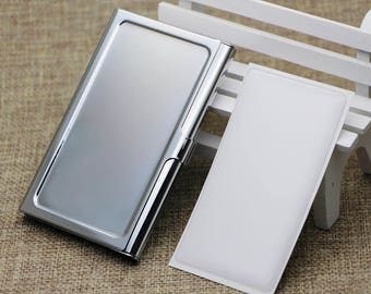 10 Kits- Blank business card card holder, Stainless steel business card holder blank,Engravable business card holder,Epoxy Stickers