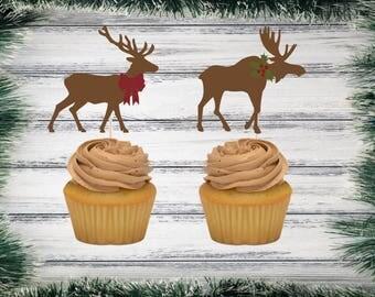 Christmas Reindeer /Christmas Moose Party Picks / Cupcake Toppers | Set of 12