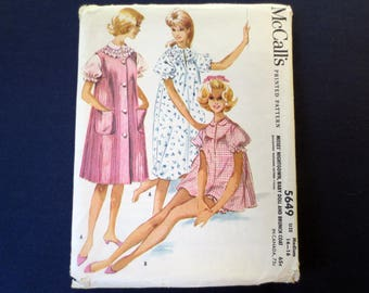 1960 Baby Doll Nightgown and Robe, Brunch Coat, Uncut Vintage Pattern, McCalls 5649, Size Medium 14, 16, Bust 34, 36