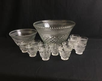 Punch Bowl Set | Wexford by Anchor Hocking  | Oversized Punch Bowl | Twelve Cups | BONUS Snack Bowl